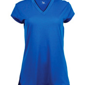 Ladies' Solid Cap Sleeve Jersey with V-neck