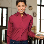 Ladies' Blend Performance Poplin Woven Shirt(p. 455)   Wrinkle-free and stain-repellant makes this a