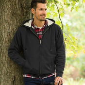 UltraClub Adult Sherpa-Lined Full-Zip Hooded Fleece