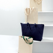 Cotton Canvas Tote with Gusset and Contrasting Handles