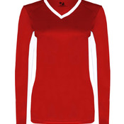 Ladies' Core Performance Dig Long-Sleeve Tee with Contrast Sleeve Panels