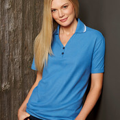 UltraClub Ladies' Short-Sleeve Whisper Piqué Polo with Tipped Collar