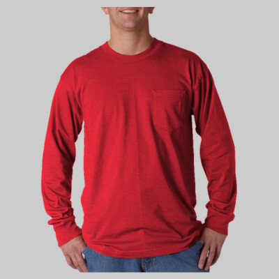 Adult Long-Sleeve Cotton Tee with Pocket